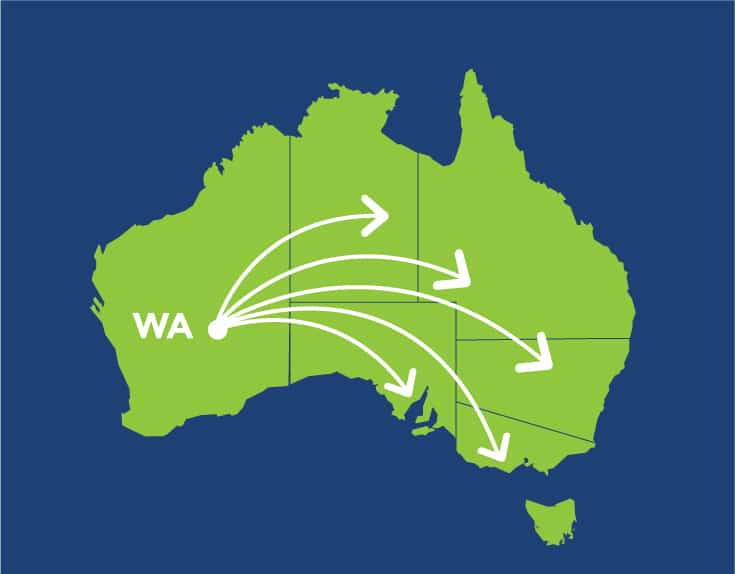 A2B Interstate Removals - Map of Australia