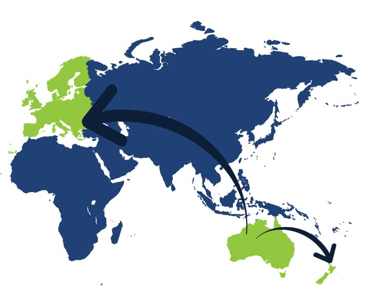 A2B International removals map