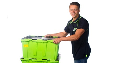 andy with an a2b storage crate ready for self storage